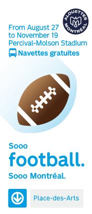 Soos Football - From August 27 to November 19 Percival-Molson Stadium Free shuttles Métro Place-des-arts