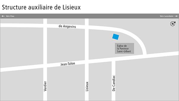 Plan de la structure auxiliaire de Lisieux.