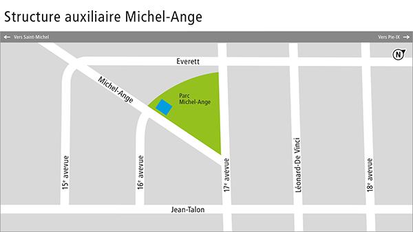 Carte de la structure auxiliaire Michel-Ange