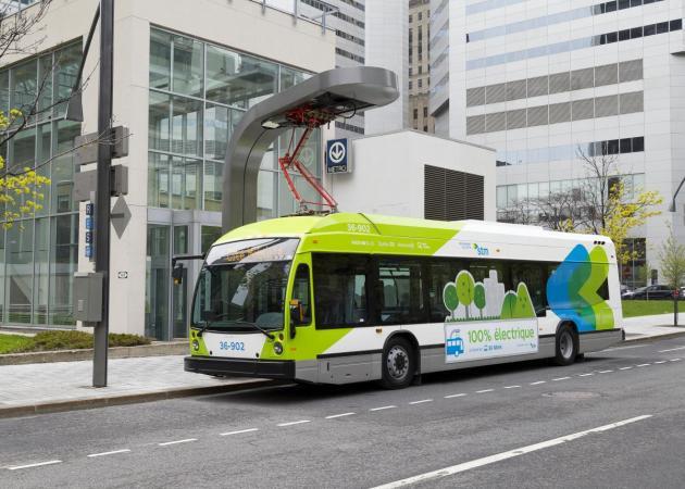 Photo of an STM electric bus, credit Louis-Étienne Doré