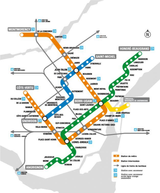 Montrela Subway Map.Elevator Access To The Metro Societe De Transport De Montreal
