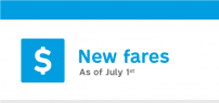 Fare adjustments as of July 1, 2021