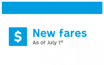 New fares as of July 1st